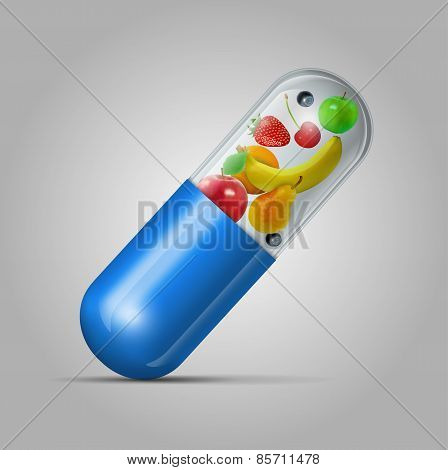 Different fruit in capsule - healthy diet concept