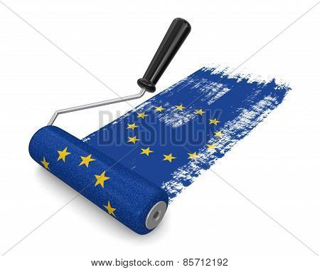 Paint roller with flag of the European union (clipping path included)