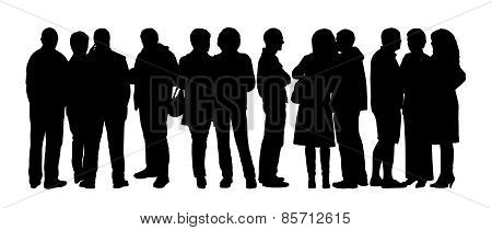 Large Group Of People Silhouettes Set 7