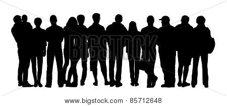Large Group Of People Silhouettes Set 4