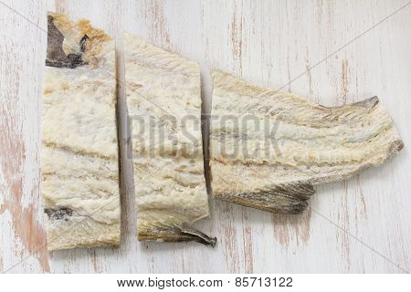 Salted Cod Fish On White Background