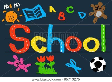 Kids Imagination Handwriting School Learning Concept
