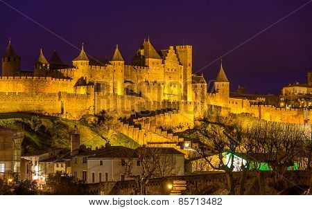 Night View Of Carcassonne Fortress - France, Languedoc-roussillon