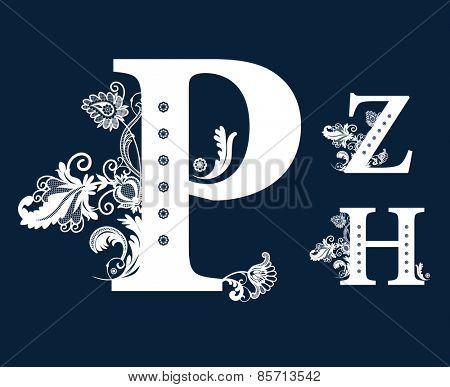 Vintage Floral Alphabet Set. Raster version.