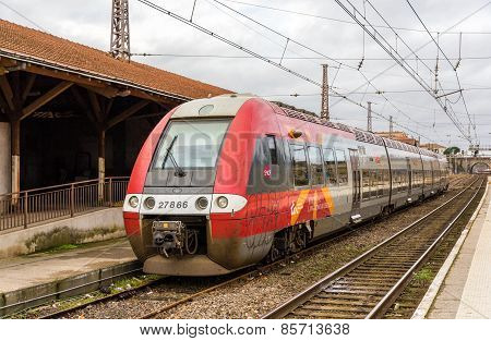 Narbonne, France - January 06: Regional Electric Train At Narbonne Station On January 6, 2014. Sncf