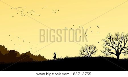 Horizontal Illustration Of Girl In Field Windswept