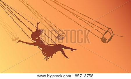 Horizontal Illustration Silhouette Girl On Swing At Sunset.