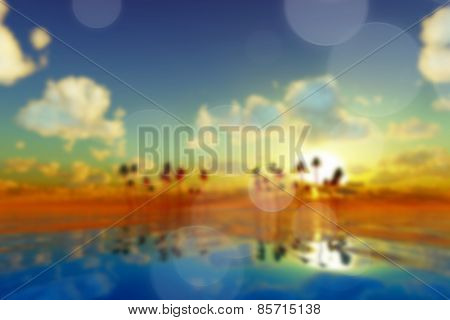 Yellow Sunset Over Tropic Sea