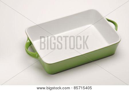 An empty  porcelain baking tray.
