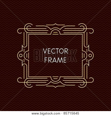Vector mono line frame with copy space