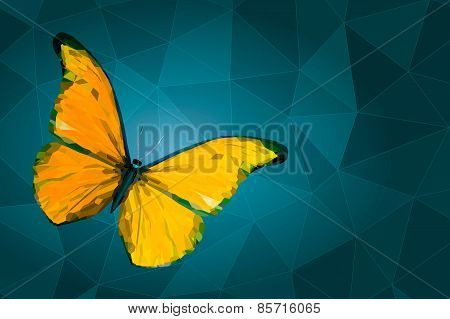 Abstract Yellow Butterfly On Geometric Background