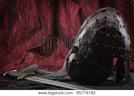 Medieval Armour, Helmet And Sword