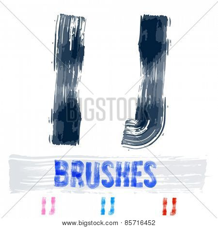 Vector set of extremely grunge underground style font. Hand-drawn brush alphabet. Letters I J