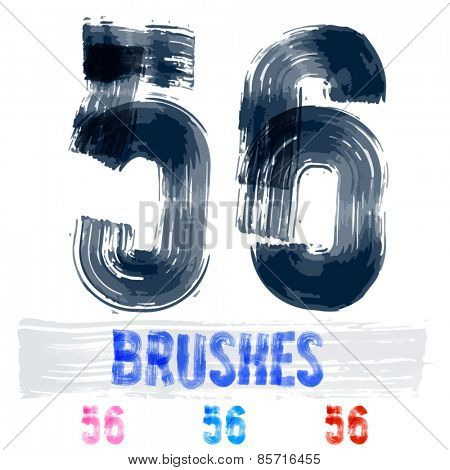Vector set of extremely grunge underground style font. Hand-drawn brush alphabet. Numbers 5 6