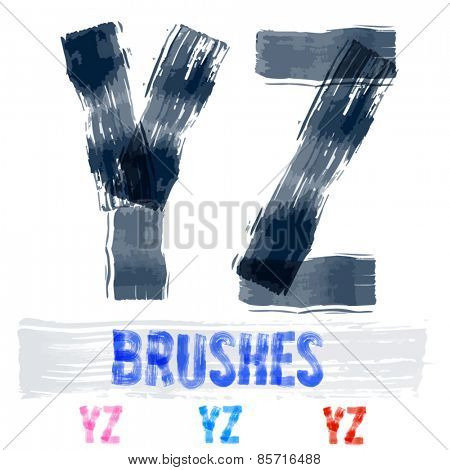 Vector set of extremely grunge underground style font. Hand-drawn brush alphabet. Letters  Y Z