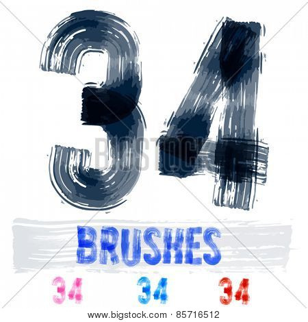 Vector set of extremely grunge underground style font. Hand-drawn brush alphabet. Numbers 3 4