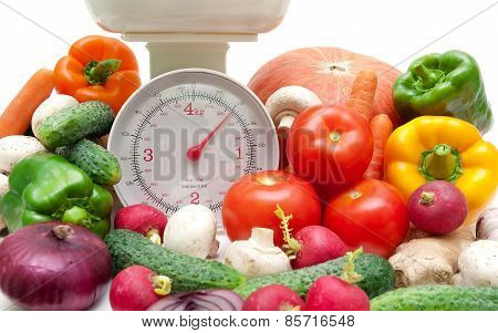 Fresh Food And Kitchen Scale Closeup