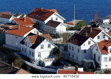 Traditional Wooden Buildings Areal View, Norway