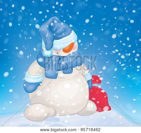 Vector snowman cartoon.