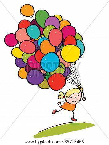Vector little girl with balloons.