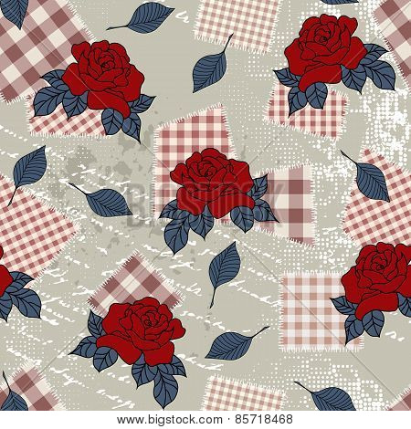 Pattern with roses in country style