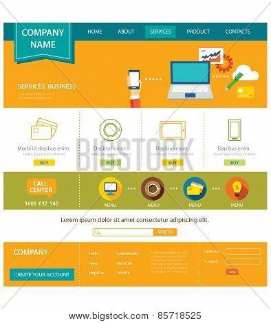 Business Website Template Flat Design