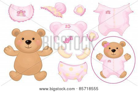 Vector baby bear girl.