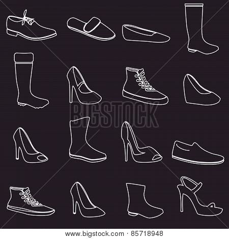 Boots And Shoes White Outline Icons Set Eps10