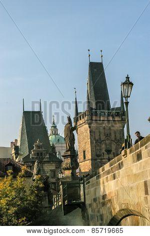 View On Charles Bridge In Prague