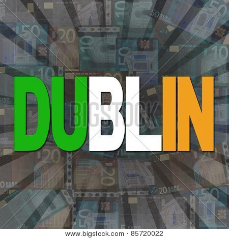 Dublin flag text on Euros sunburst illustration