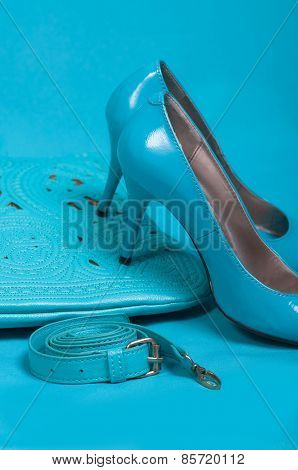 Beautiful blue shoes and handbag