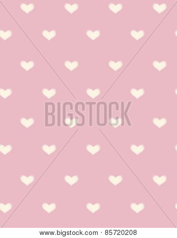 Vector seamless hearts pattern blurred soft effect.