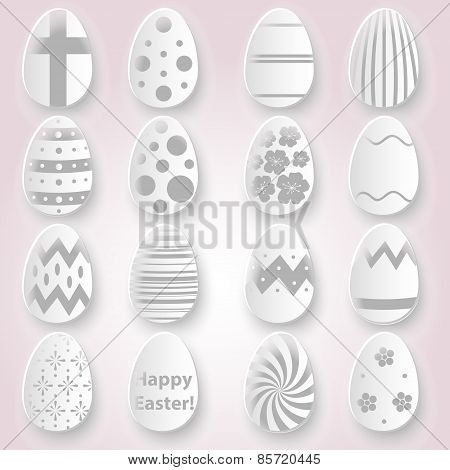 Various Easter Eggs Design From White Paper Collection Eps10