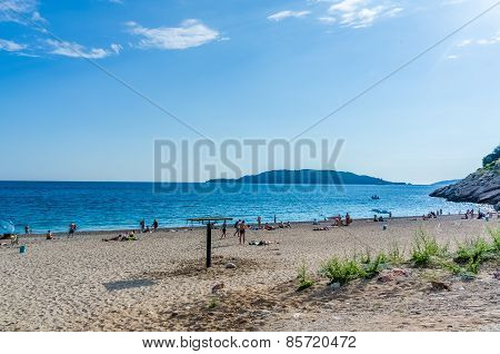 View On Sea And Sand Beach In Kamenovo, Montenegro