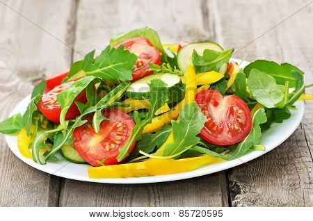 Vegetable Salad On Rustic Table