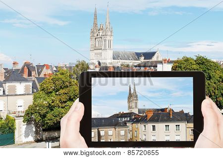 Tourist Photographs Houses And Cathedral In Angers