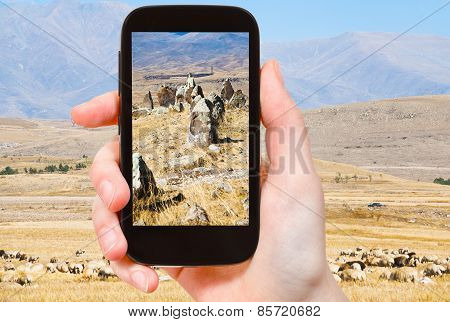 Tourist Photographs Menhirs Zorats Karer Armenia