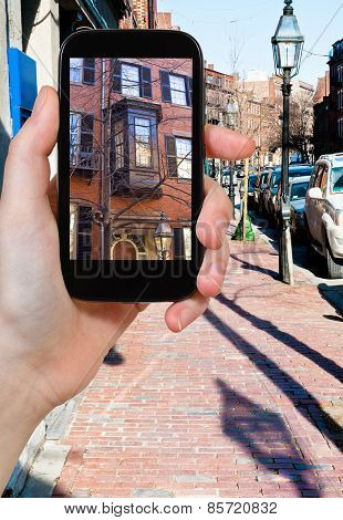 Tourist Photographs Of Street In Boston