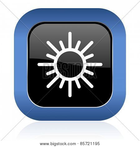 sun square glossy icon waether forecast sign