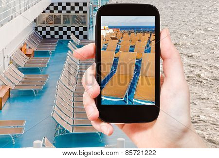 Tourist Photograph Relaxation Area On Cruise Liner