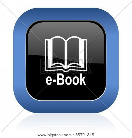 book square glossy icon e-book sign