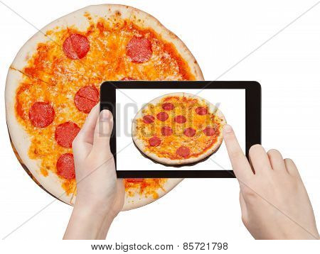 Tourist Photographs Of Italian Pizza With Salami