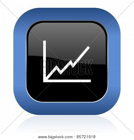 chart square glossy icon stock sign