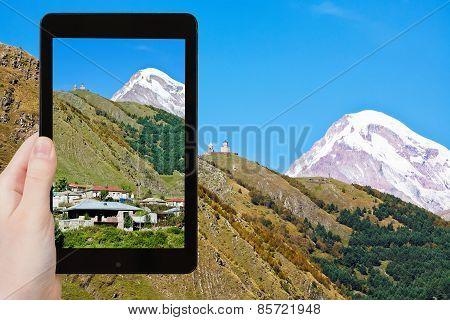 Tourist Photographs Mount Kazbek In Georgia