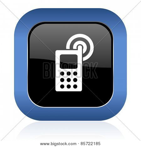 phone square glossy icon mobile phone sign