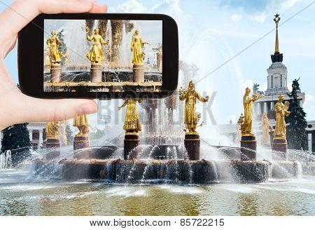 Tourist Photographs Of Fountain At Vvc In Moscow