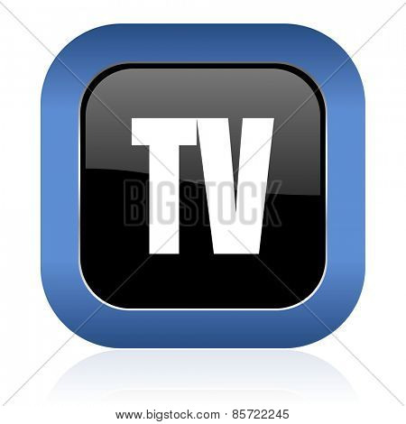 tv square glossy icon television sign