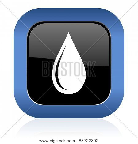 water drop square glossy icon