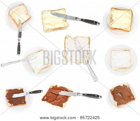 Set Of Sandwiches From Toast And Speads Isolated