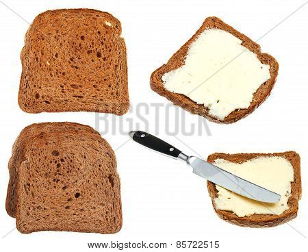 Bread And Butter Toasts Isolated On White